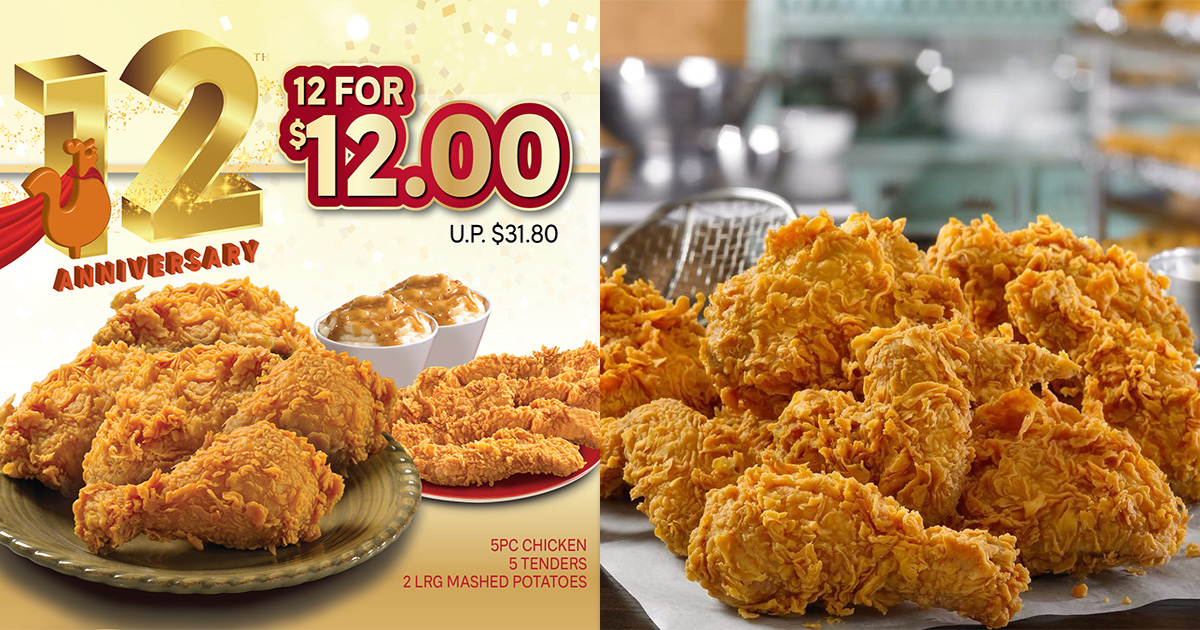 Popeyes S'pore 12 for $12 Anniversary Promotion from Jan 8 – 12 will include 5pc Chicken & 5pc Tenders