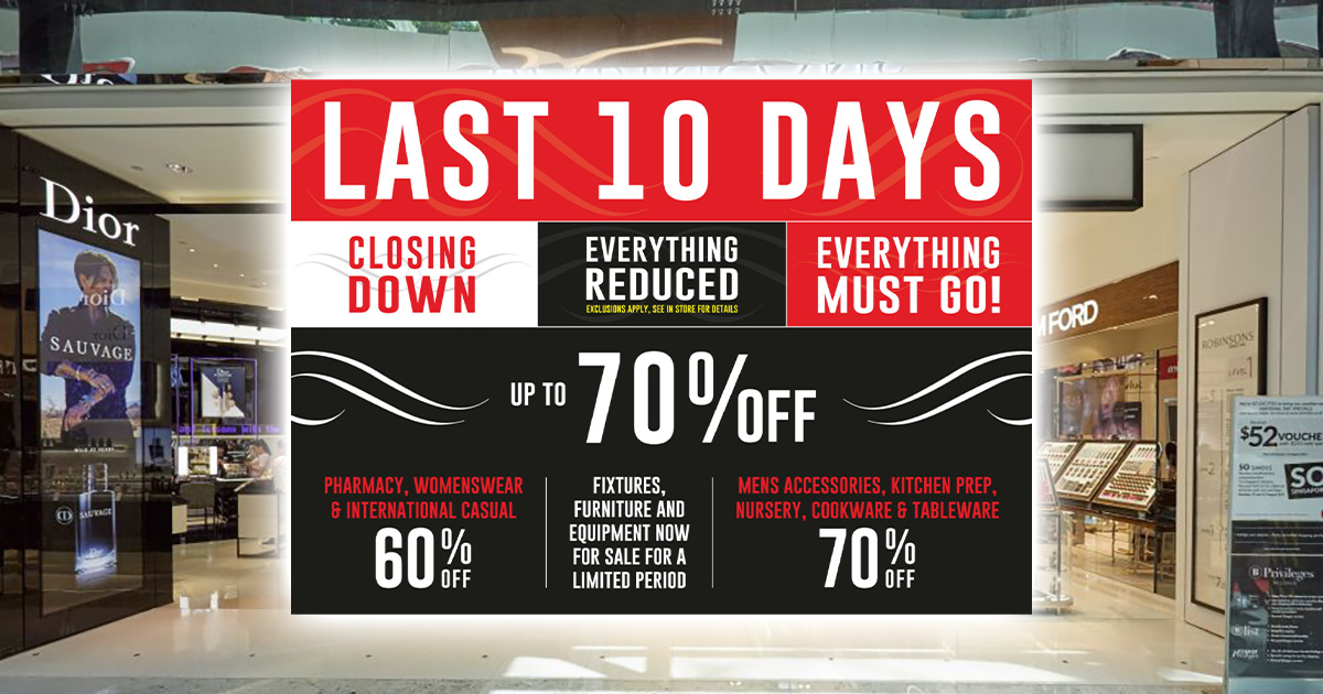 Everything on Sale at Robinsons Raffles City as the last store set to close on Jan 10