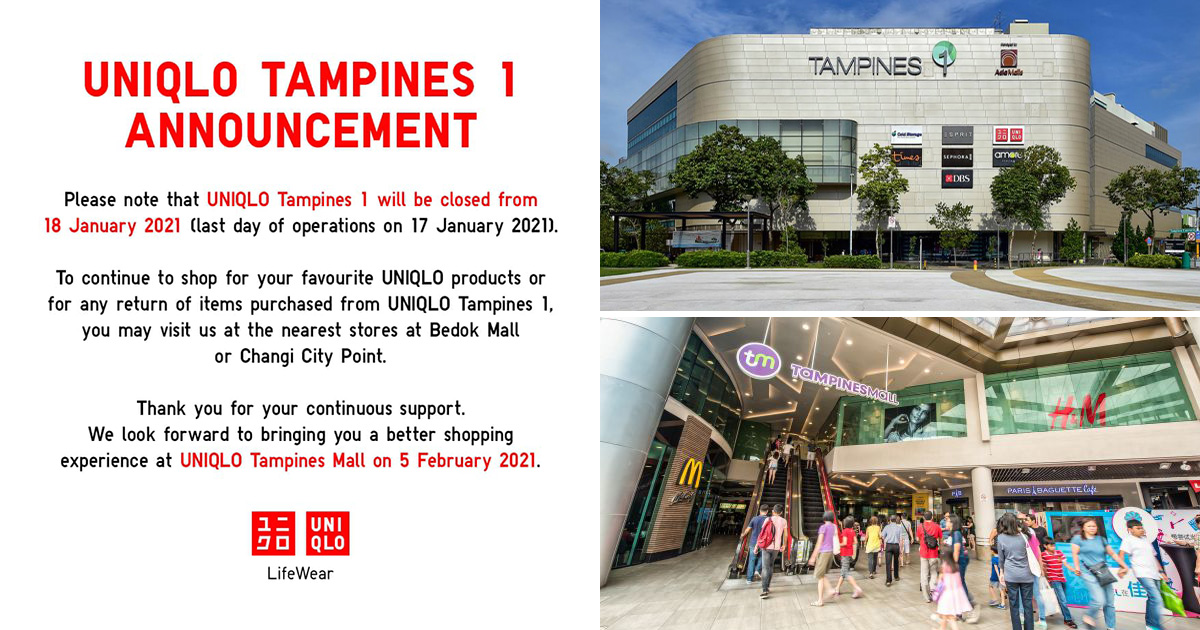 UNIQLO closes Tampines 1 outlet but opens new Dual-Storey Store in Tampines Mall on Feb 5