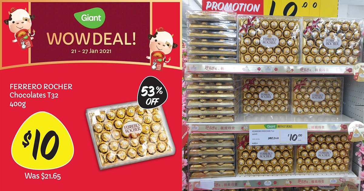 Giant selling 32pc Ferrero Rocher Chocolates for only S$10 till Jan 27, a whopping 53% OFF usual price