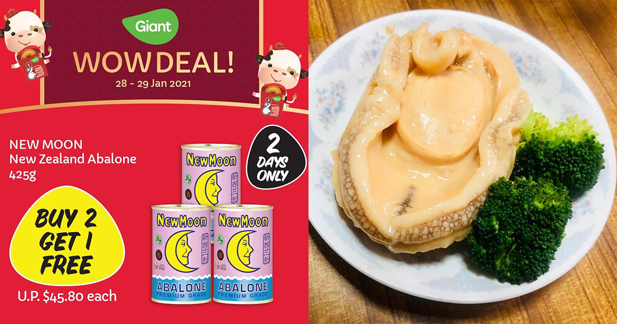 Giant Buy 2 Get 1 Free Offer on New Moon Abalone till Jan 29 means you pay only S$30.53 per can