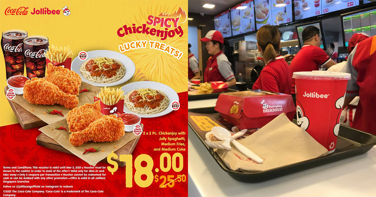 Jollibee S'pore latest Discount Coupons till Mar 5 lets you save as much as S$7.50 on Combo Meals