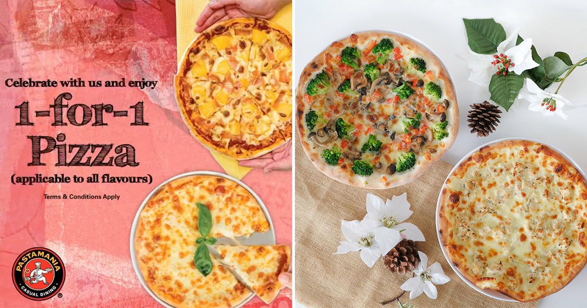 PastaMania offers 1-FOR-1 Pizza Promotion till Feb 14 at all S'pore outlets, choose from 7 or 10-inch sizes