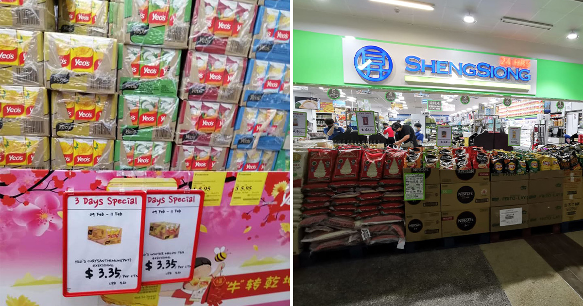 Sheng Siong selling 24-pack carton Yeo's Packet Drinks for S$3.35 till Feb 11, only S$0.14 per packet