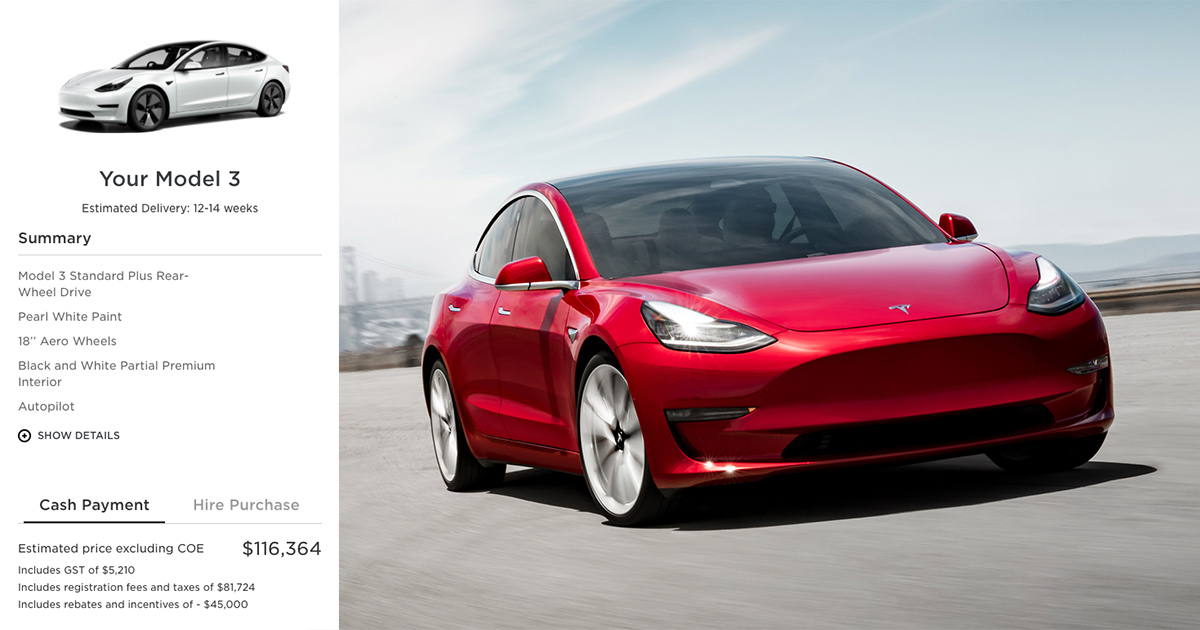 Tesla Model 3 now available for pre-order in S'pore, priced at $116k before COE