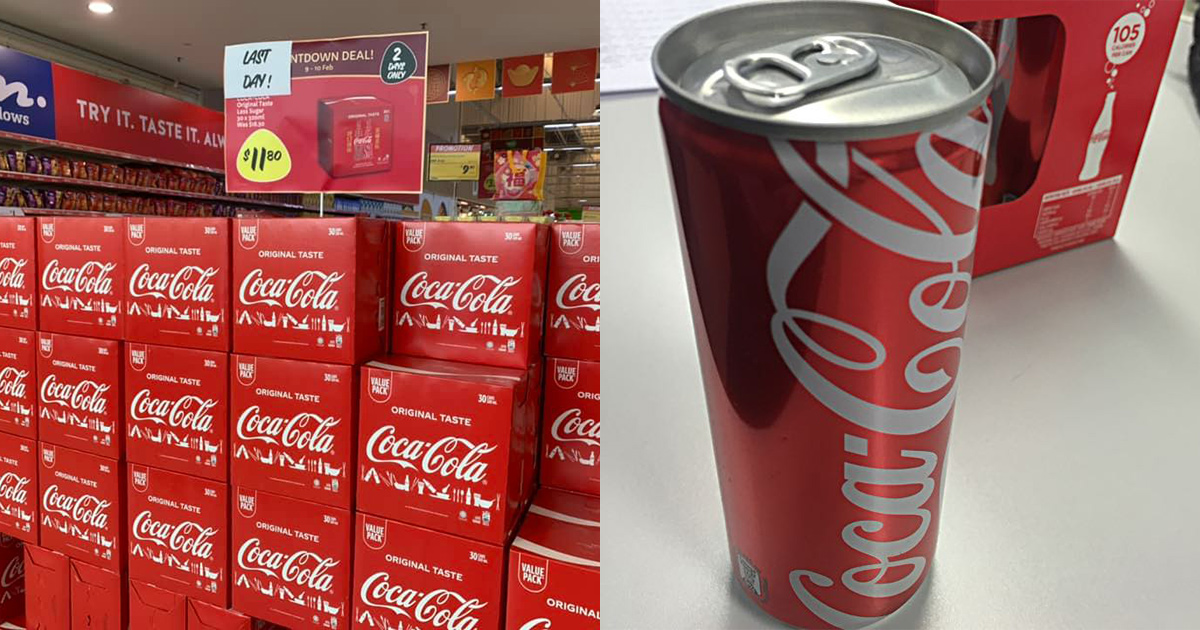 Giant Hypermarket selling cartons of 30-pack Coca-Cola for S$11.80 till Feb 10, less than S$0.40 per can