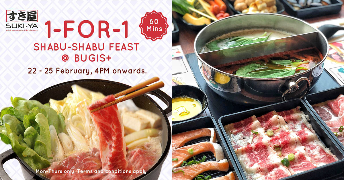 SUKI-YA Bugis+ having 1-FOR-1 Buffet Promotion till Feb 25 means you pay only S$12.45 per person