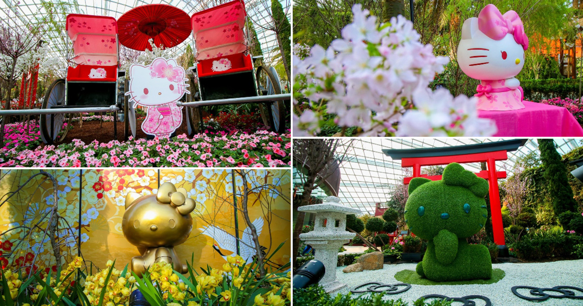 Gardens by the Bay has Sakura Cherry Blossoms with life-sized Hello Kitty displays this March