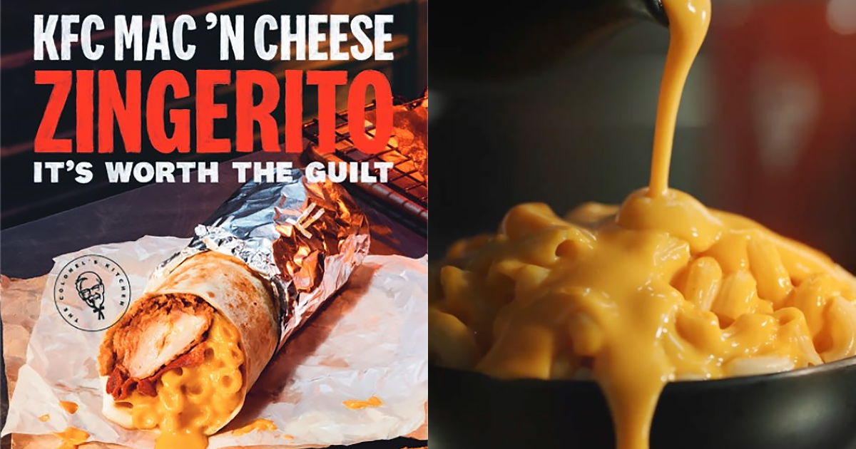 KFC S'pore launching new 'Zingerito' on Mar 10, has Mac 'n Cheese, Zinger Fillet & Bacon in a Burrito