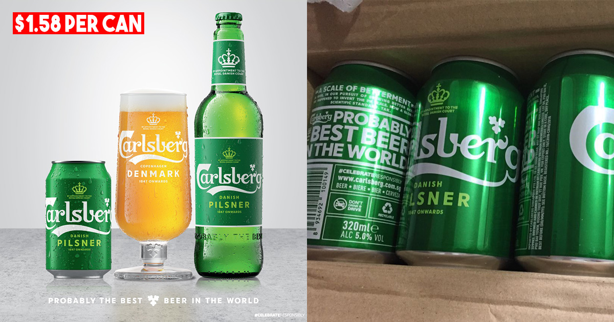 Carlsberg S'pore Official Store selling 24-can 320ml Beer in Online Deal, only costs S$1.58 per can