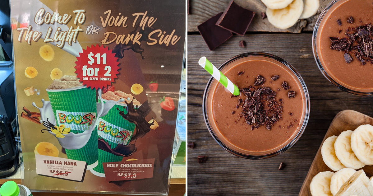 Boost Juice Bars selling limited edition Vanilla Nana & Holy Chocolicious for $11 this March