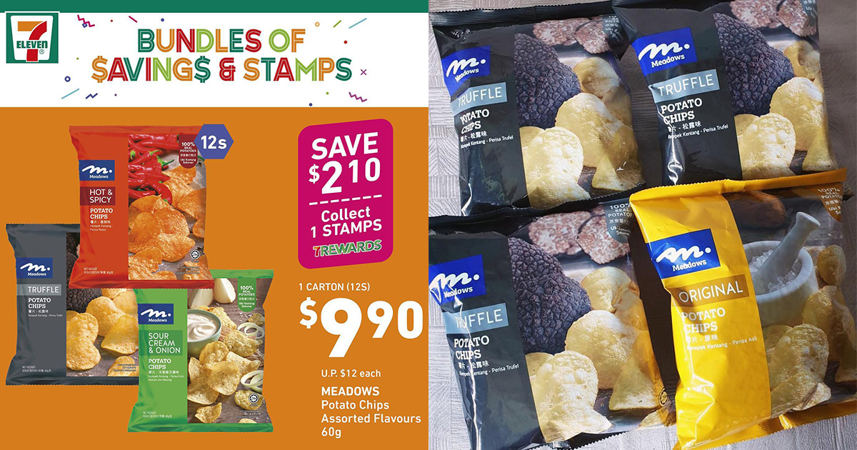 7-Eleven's Carton Deal on 12-pack Meadows Potato Chips for $9.90 is back, includes Truffle Flavour