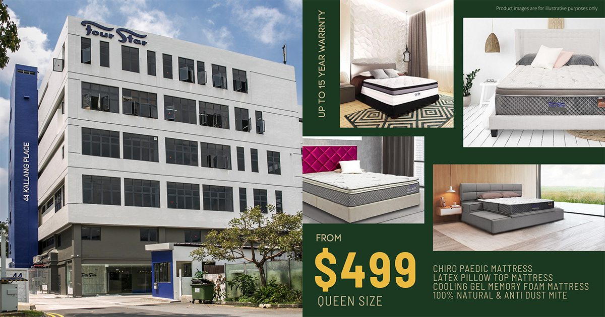 Four Star S'pore having Mattress Sale in Kallang from Apr 8 – 11, has Queen Size from only $499
