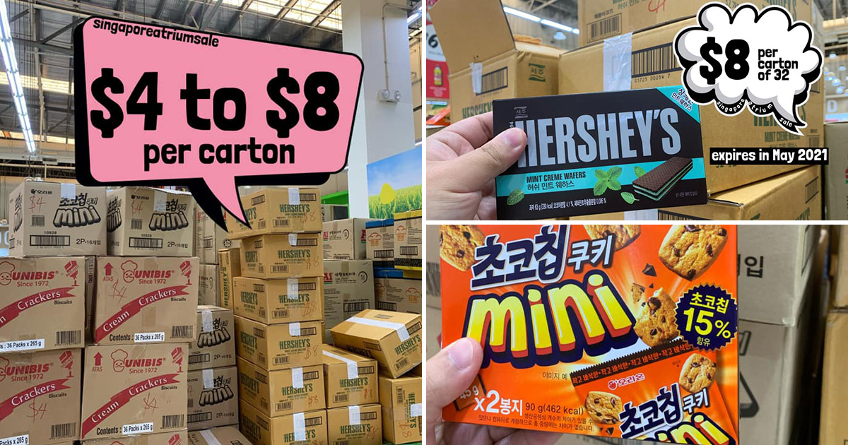 Giant Hypermarket in Tampines clearing Snack & Ramen Cartons from $4, has Hershey's, Mini Cookies & more