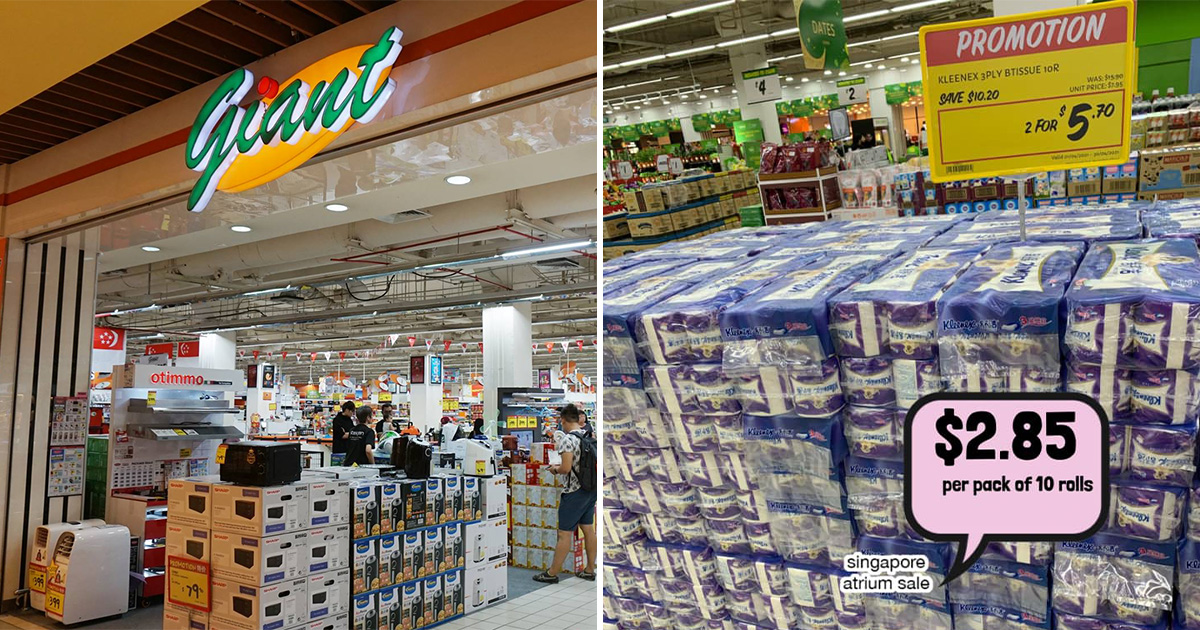 10-roll packs of 3-Ply Kleenex Toilet Rolls selling at S$2.85 at Giant supermarkets till Apr 30