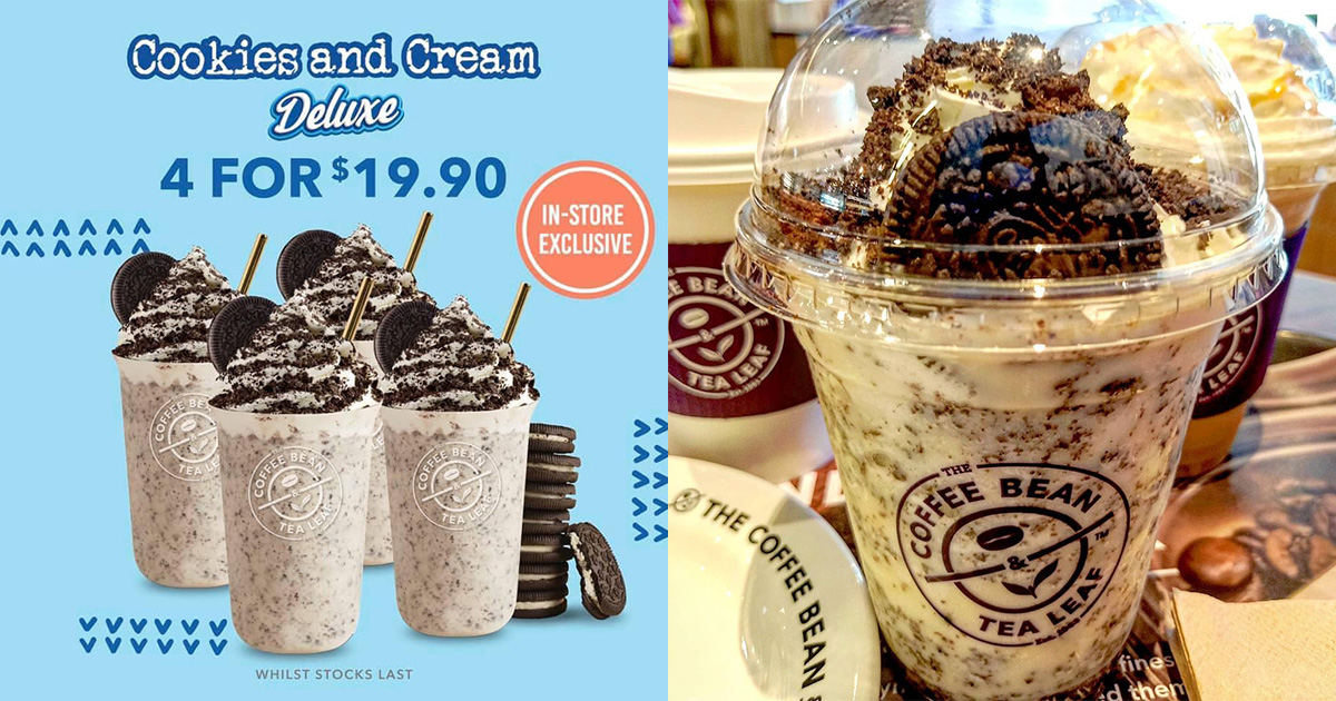 Coffee Bean offering Cookies & Cream Deluxe at $19.90 for 4, time to jio your Oreo Milkshake buddies