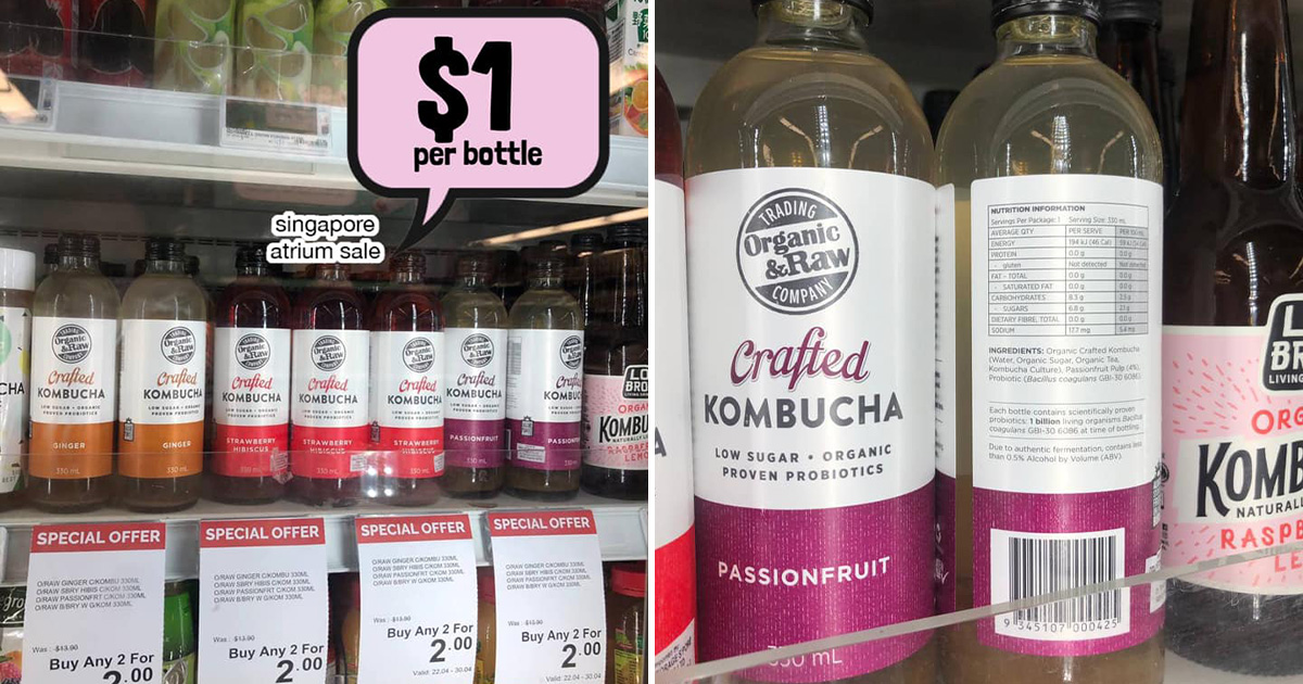 Cold Storage selling Organic & Raw Kombucha for only $1 per bottle, has 4 flavours to choose from (U.P. $6.95)