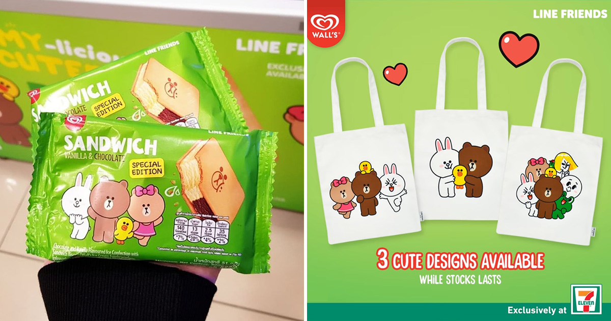 7-Eleven selling LINE Friends Ice Cream Sandwich, gives away FREE themed tote bag when you buy 3 packs