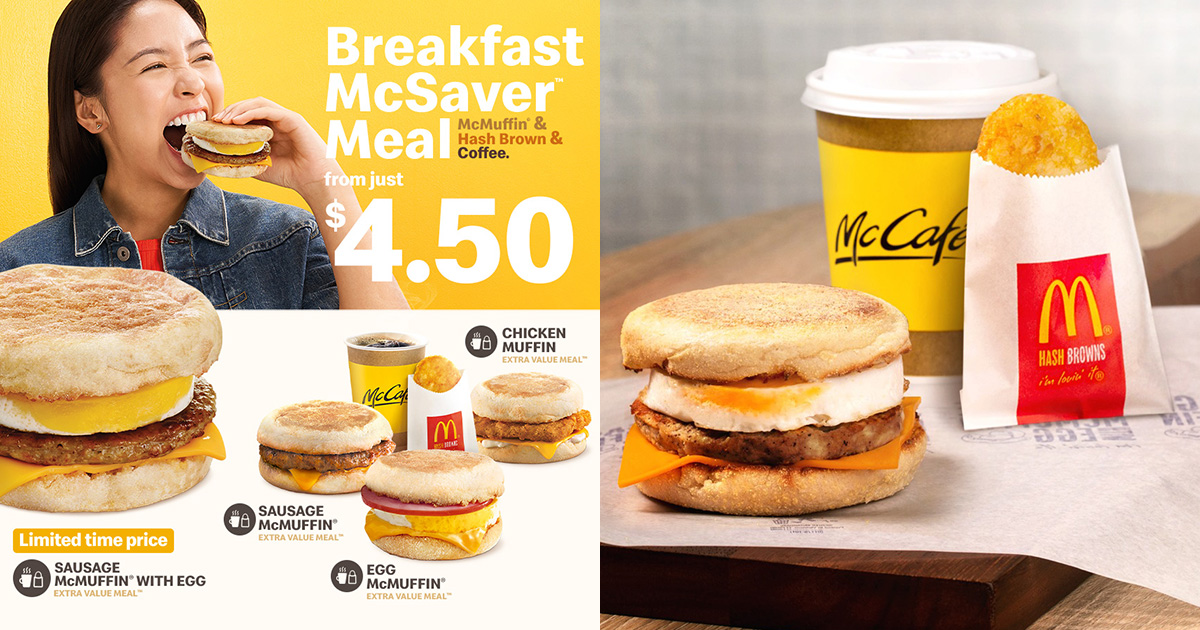 McDonald's McMuffin Meals with Hot Drink & Hash Brown available at S$4.50 daily from Apr 29 – Jun 9