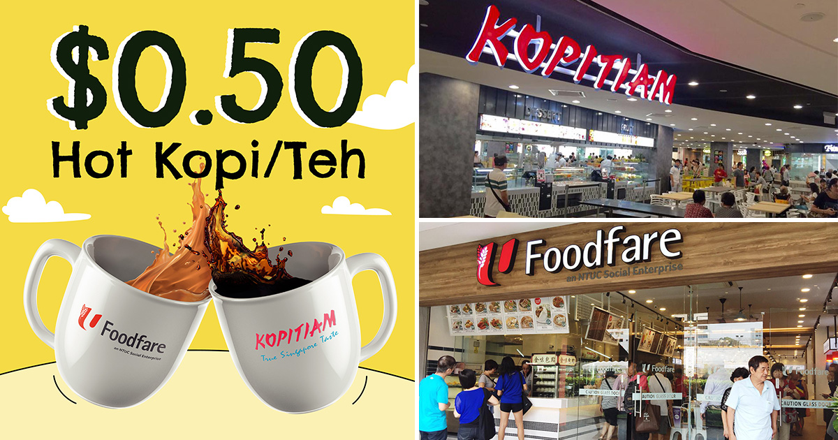 NTUC Union Members pay only $0.50 Hot Kopi or Teh at Kopitiam & Foodfare Outlets Daily till Jun 12