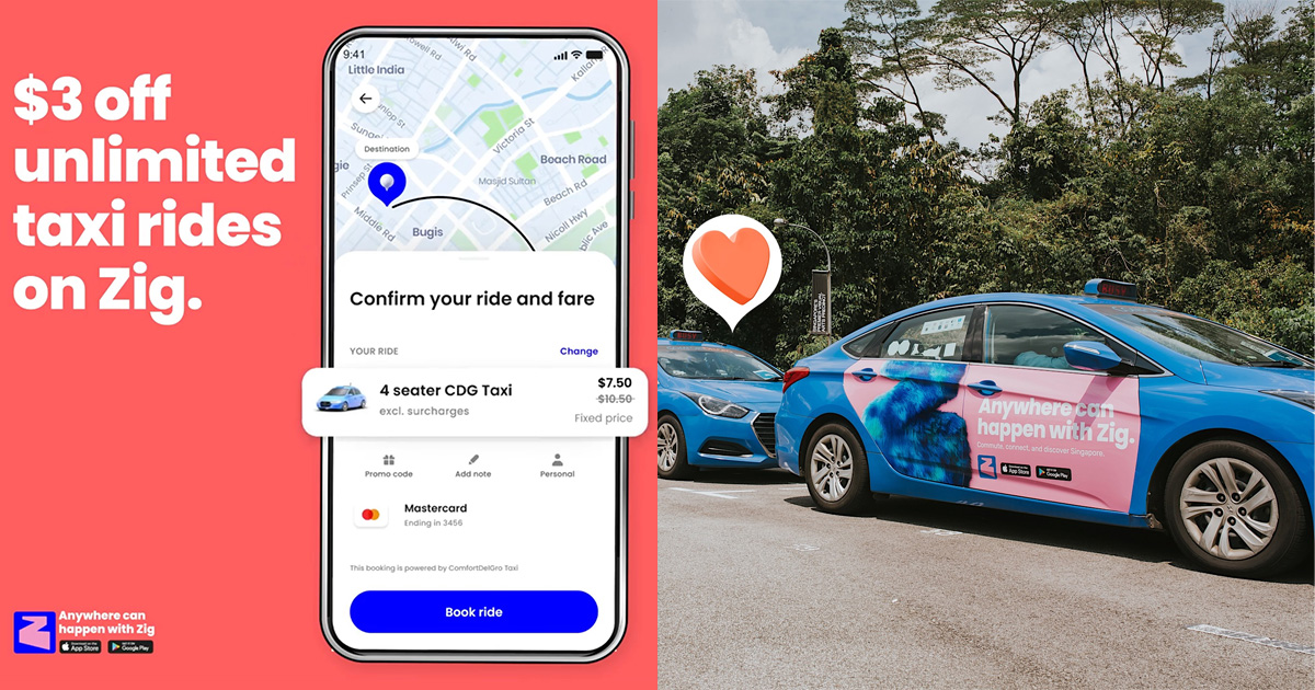 ComfortDelGro Zig App has new Promo Code with $3 OFF Unlimited Rides till May 18