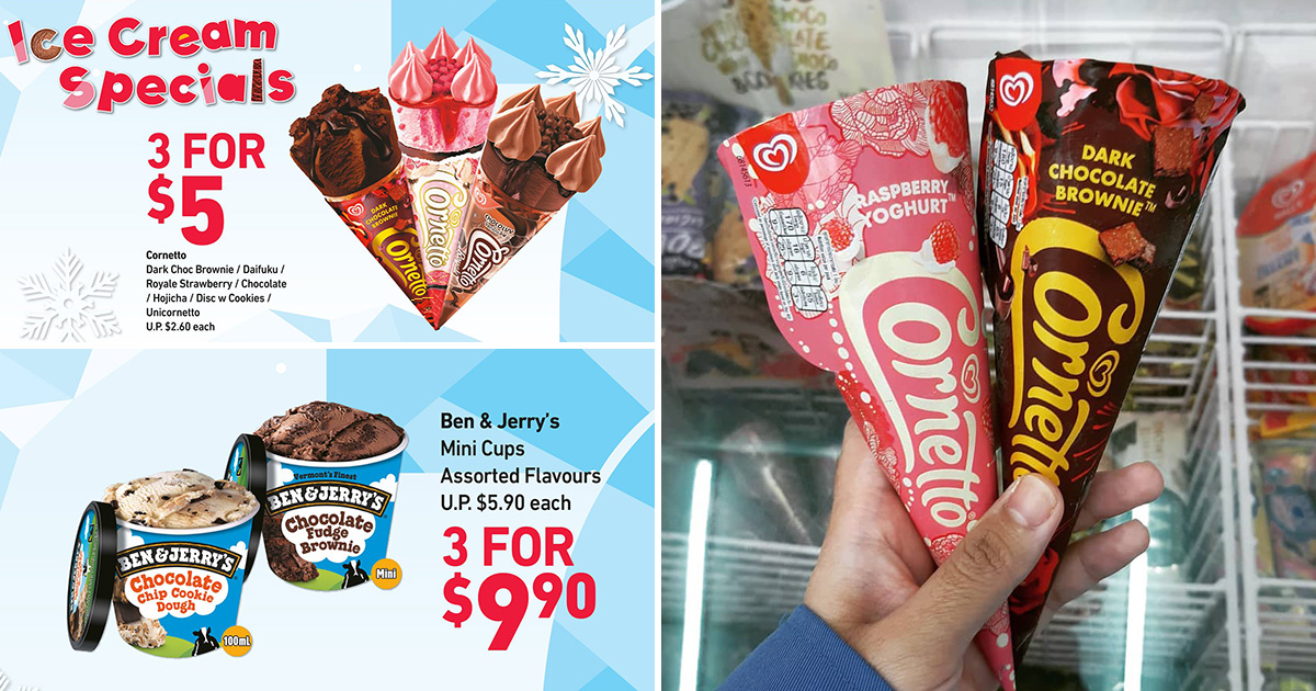 7-Eleven has lots of ice cream deals from S$0.80 including Cornetto, Ben & Jerry's, Häagen-Dazs & more