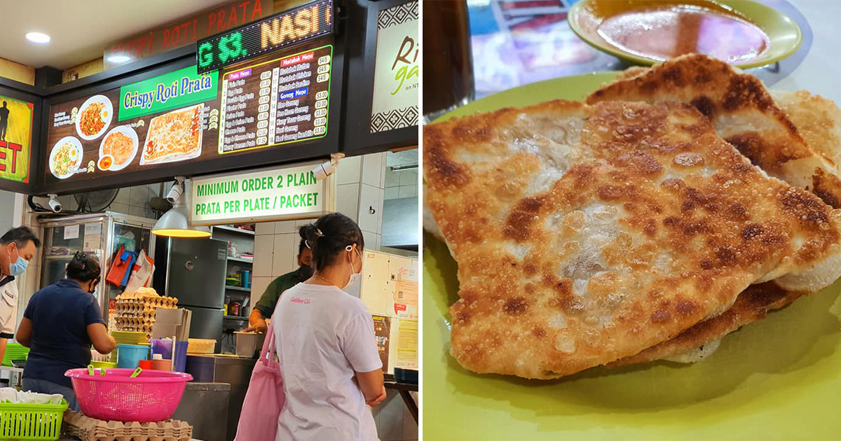 Prata foodstall in Ubi coffeeshop sells affordable Crispy Roti Prata for only $0.80 per piece