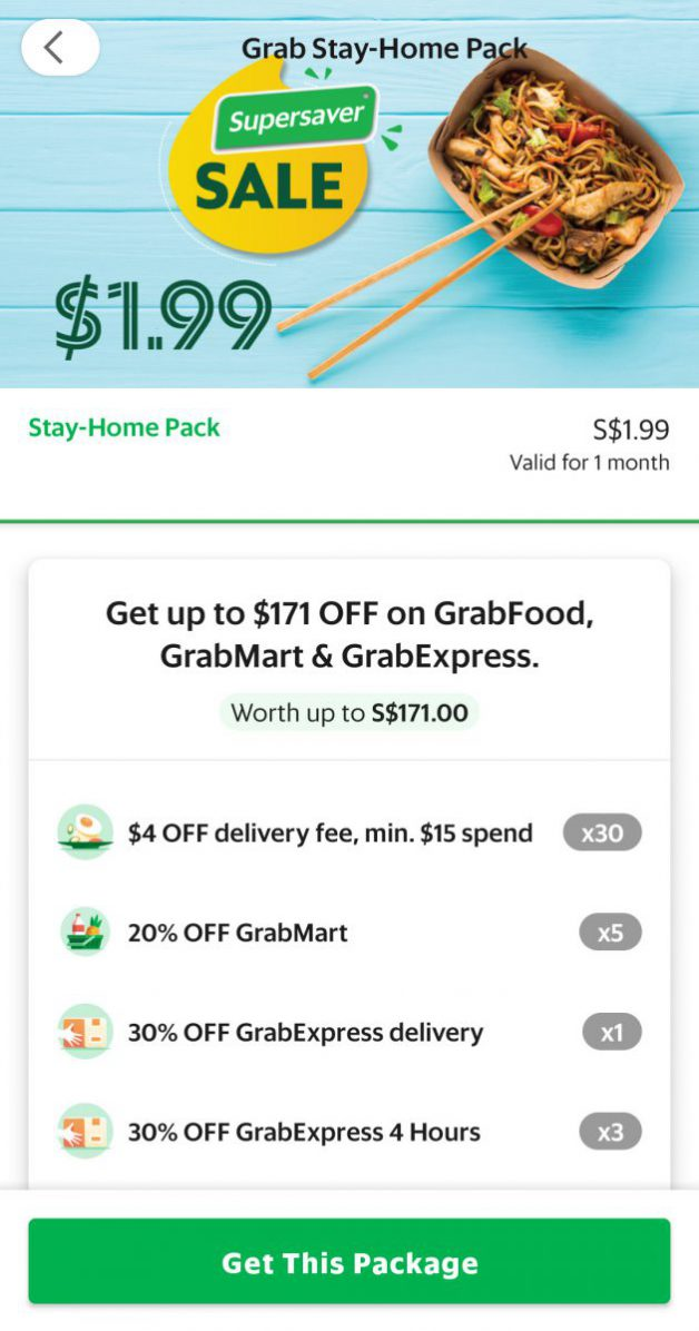 Grab has S$1.99 Stay-Home Pack with 30 x $4 OFF GrabFood Delivery Fee & more | Great Deals Singapore