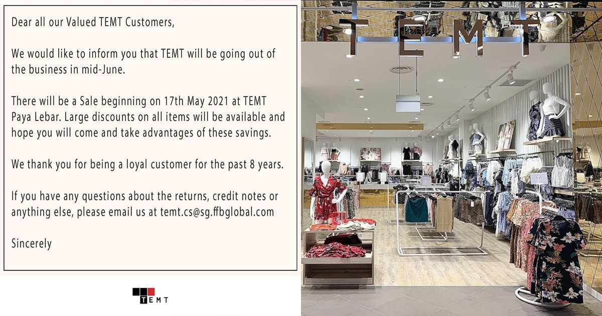 TEMT S'pore goes out of business, has large discounts on items storewide at Paya Lebar Quarter