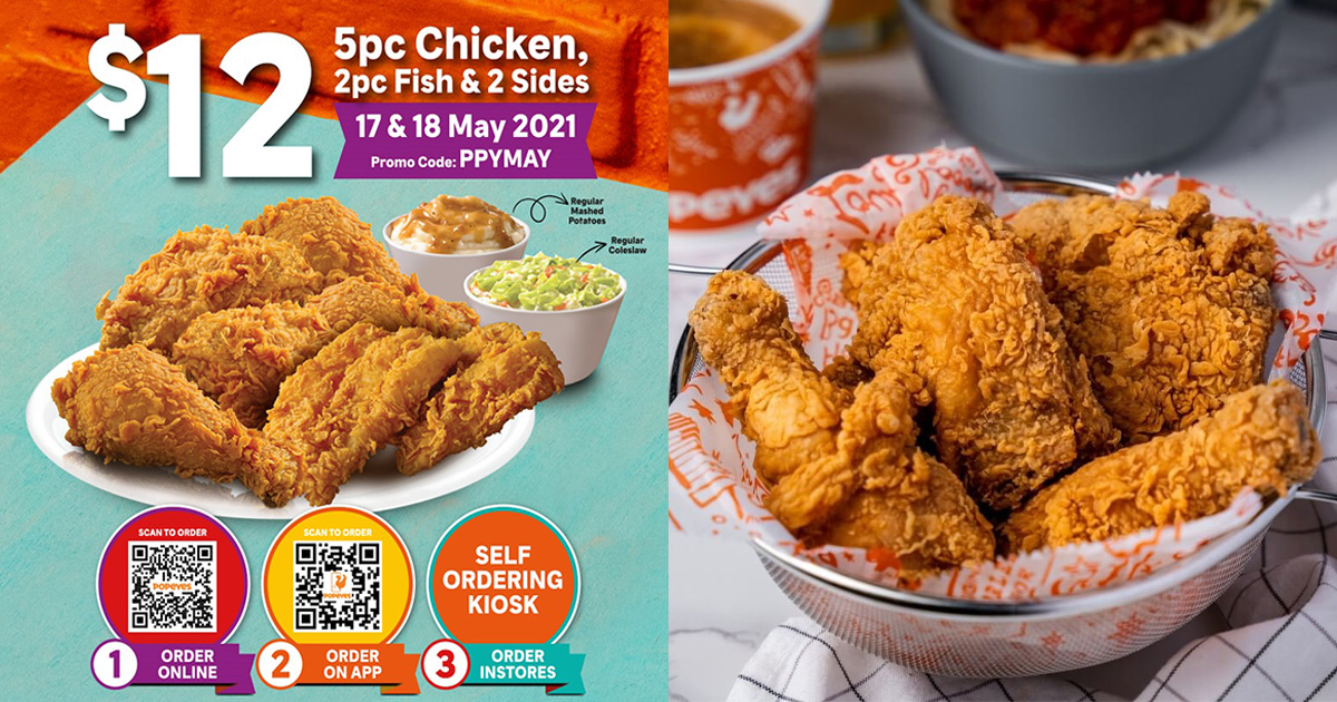 Popeyes has $12 for 5pc Chicken, 2pc Fish & 2 Sides Deal you can redeem in stores & online till May 18