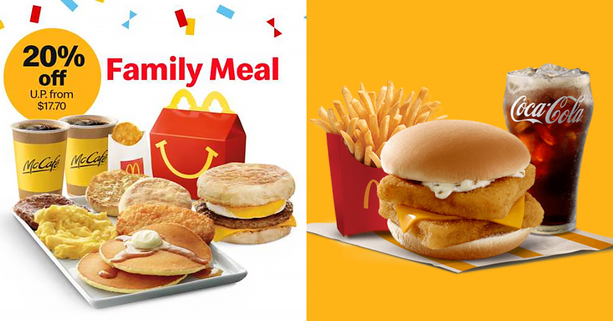 McDonald's has 20% OFF Breakfast Family Meal and $6 Double Filet-O-Fish Meal till Jun 20