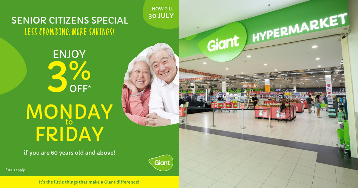 Supermarket chain Giant extends Senior Citizens Discounts from Tuesday to all weekdays till Jul 30