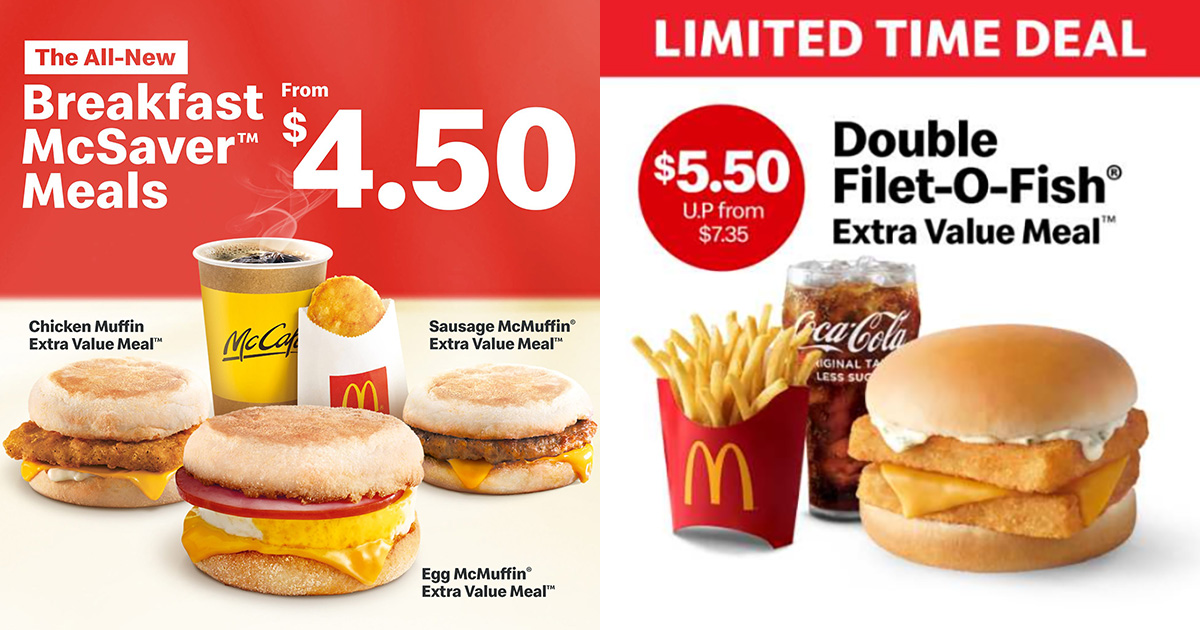 McDonald's now has Breakfast McSaver Meals and Double Filet-O-Fish Meal from $4.50 for a limited time