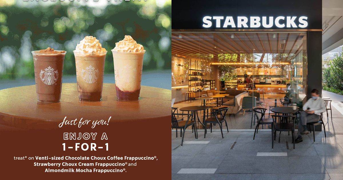 Starbucks to offer 1-FOR-1 Frappuccino Drinks all day from 28 Jun – Jul 1 at all S'pore stores