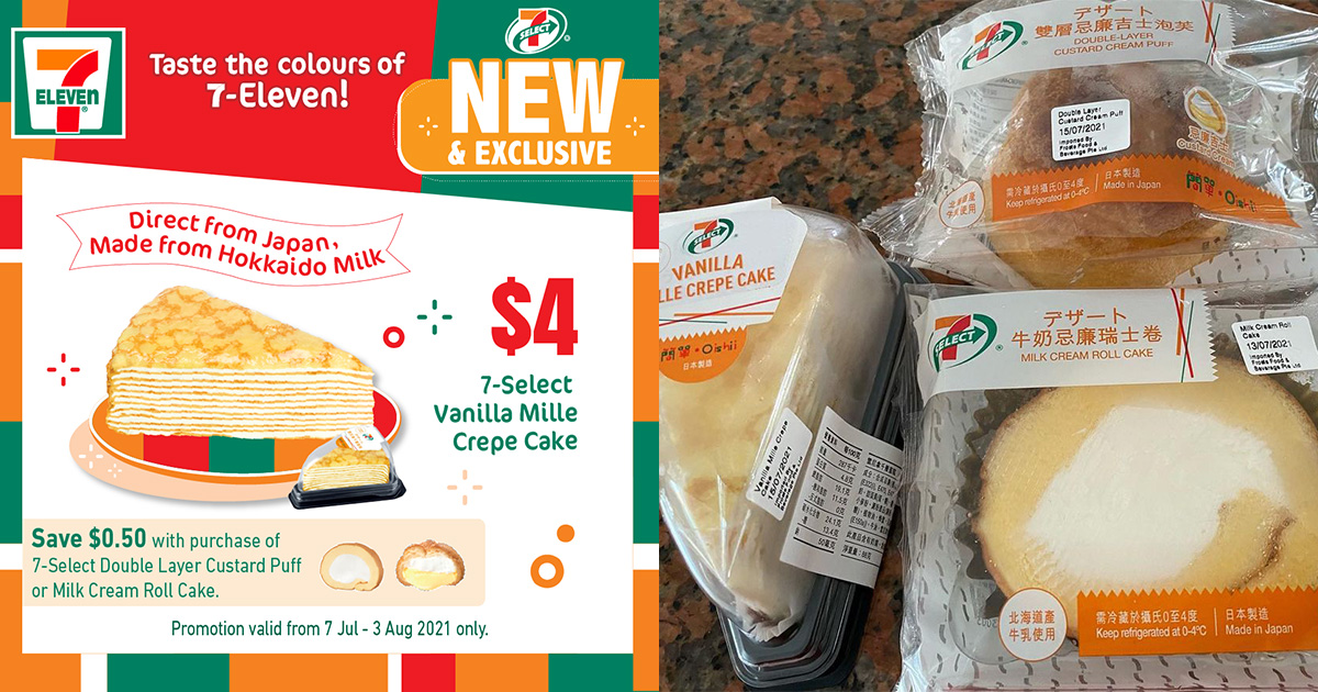 7-Eleven S'pore has Japan-imported Mille Crepe, Cream Roll Cake & Custard Cream Puff from S$1.90