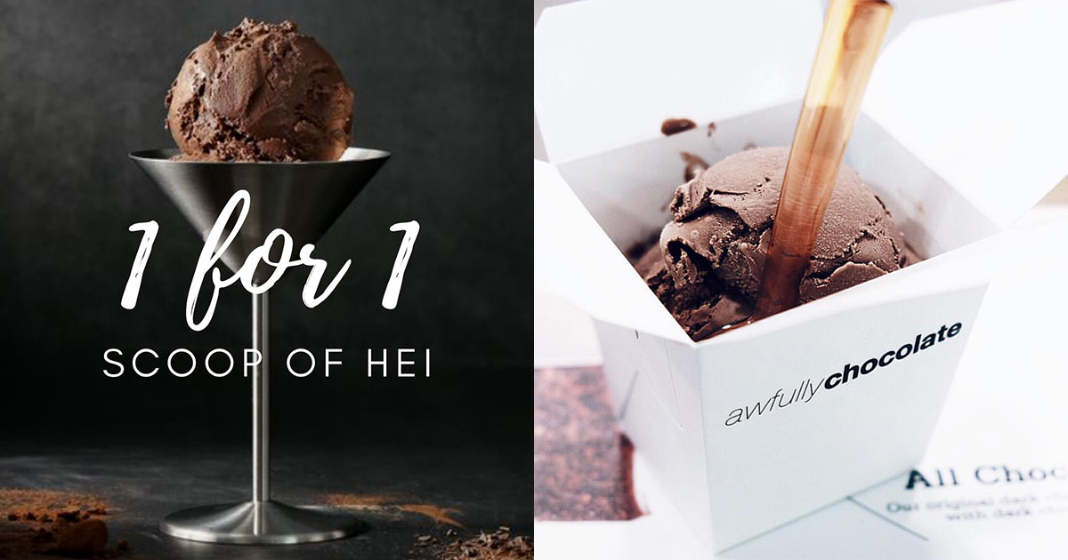 Awfully Chocolate offers 1-FOR-1 Scoop Promotion on Hei Ice Cream at all stores till Jul 31