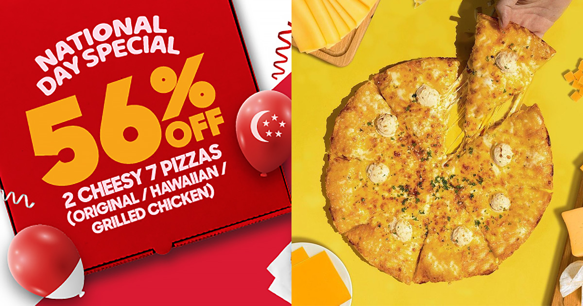 Pizza Hut NDP 2021 Promotion has 56% OFF 2 x Cheesy 7 Pizzas till Aug 11, pay as little as $14.45 each