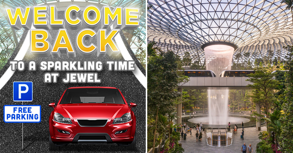 Jewel Changi Airport extends Unlimited Hours of FREE Parking till Aug 5, no minimum spend required