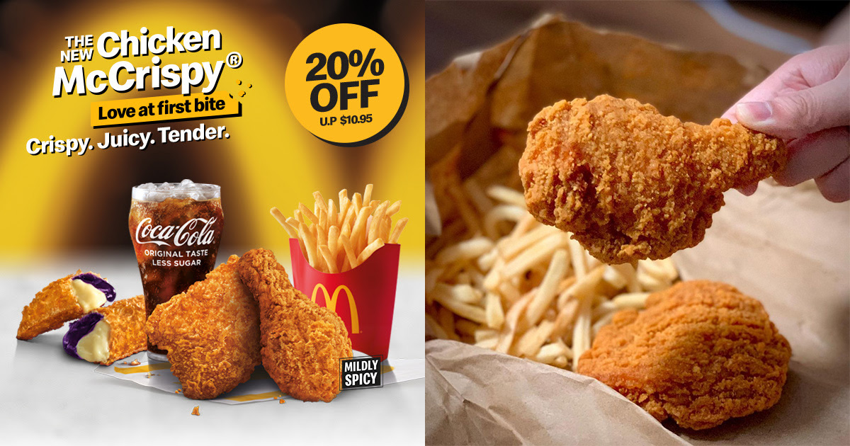 McDonald's offers 20% OFF Chicken McCrispy Feast till Jul 22, valid for dine-in, takeaway & McDelivery