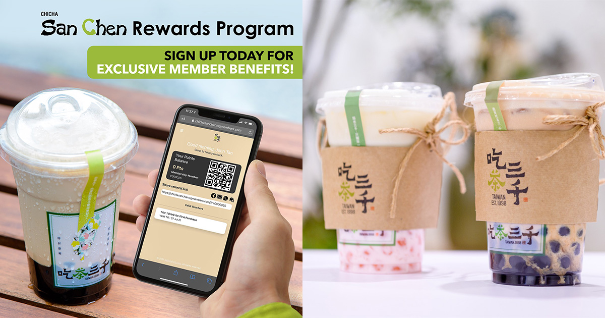 CHICHA San Chen (吃茶三千) giving away FREE Drink of your choice when you sign up as a Rewards Member