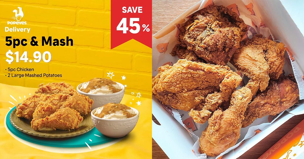 Popeyes S'pore selling 5pc Chicken & 2 Large Mashed Potatoes for only $14.90 in Delivery Promotion
