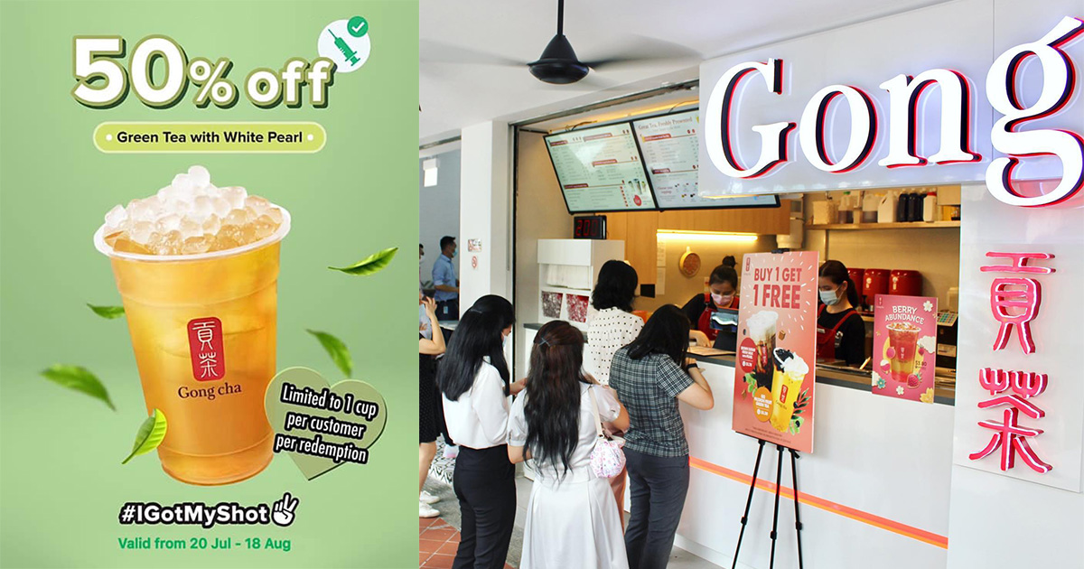 Gong Cha offers 50% OFF Green Tea with White Pearl for fully-vaccinated customers till Aug 18