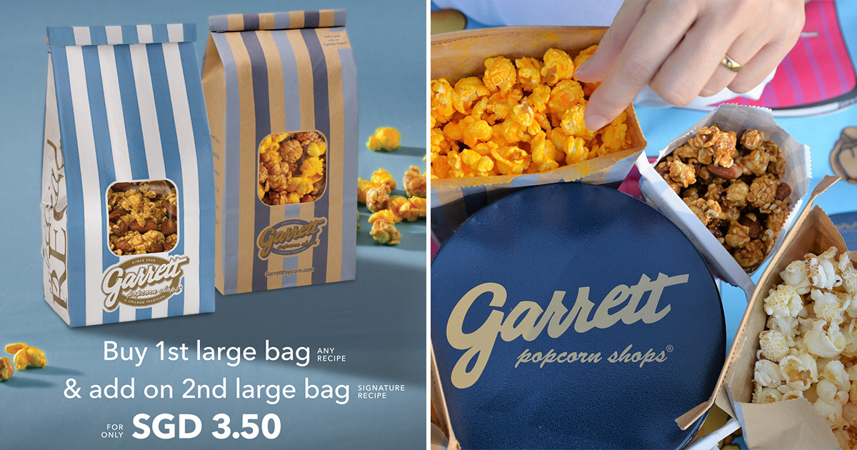 Garrett Popcorn Shops offers 2nd Large Bag for only $3.50 at all S'pore outlets till Aug 12