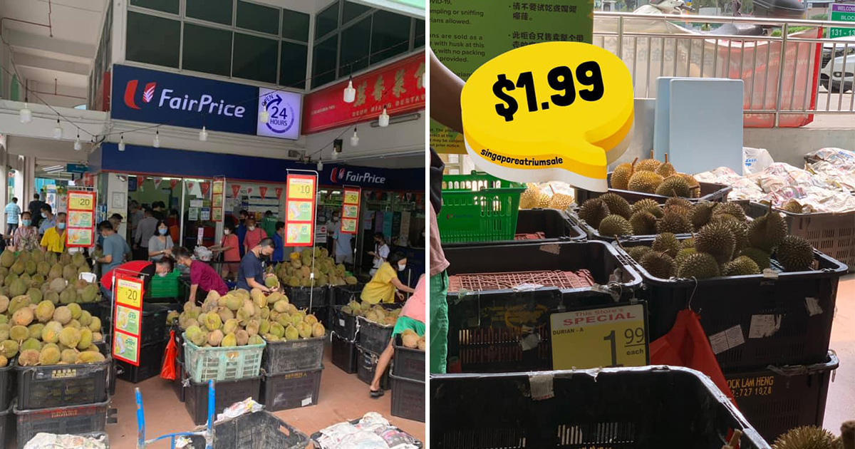 FairPrice outlet in Jurong Central has Durian Sale with prices as low as $1.99 each for a limited time