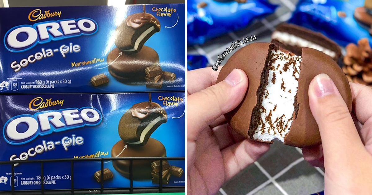 FairPrice selling Cadbury x Oreo Socola-Pie with melted Marshmallow filling for $3.45 per box of 6pcs