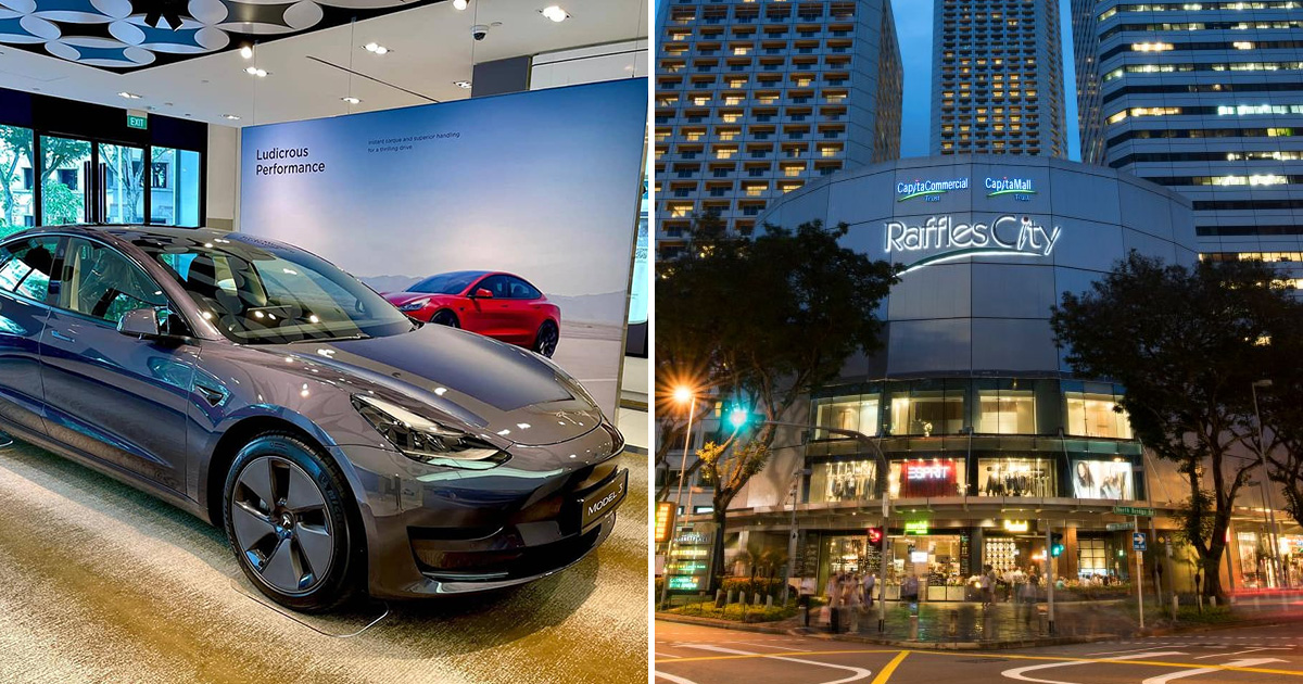 Tesla S'pore opens 1st showroom to the public in Raffles City, showcases the Model 3 Electric Car