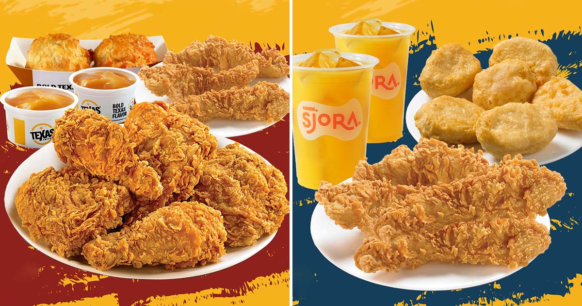 Texas Chicken S'pore has 10pc & 12pc Chicken & Tenders Bundle Meals from $10.90 till Oct 31
