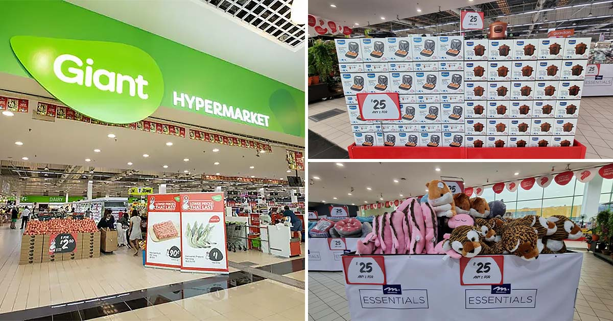 Giant Hypermarket in Tampines has 'Any 2 for $25' Offer on home appliances, plush toys & more