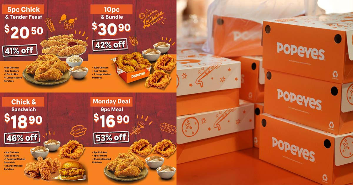 Popeyes S'pore has Delivery Deals on 3pc, 5pc & 10pc Chicken Meals with up to 53% OFF for a limited time