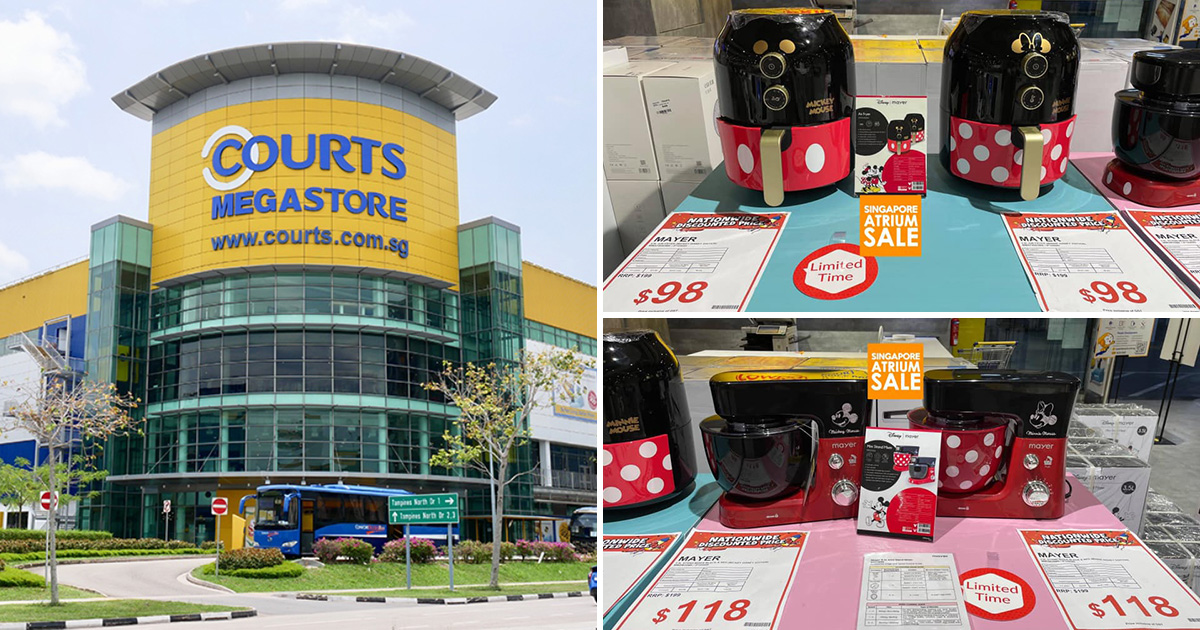Courts Megastore in Tampines selling Disney x Mayer Airfryer, Mixer, Portable Fans & more from $19.90